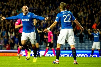 Rangers striker Kris Boyd celebrates with Dean Shiels after completing his hat-trick
