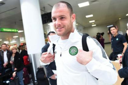 Celtic's Anthony Stokes at Glasgow Airport yesterday before flying out to face Maribor