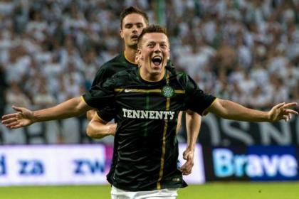 Callum McGregor is delighted to score after eight minutes in Warsaw against Legia. Little did he know of the horror show to come