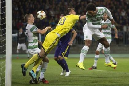 Virgil van Dijk's header cannons off team-mate Stefan Johansen to deny Celtic a second goal at Maribor