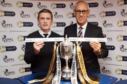 Former Rangers player Mark Hateley and East Fife manager Gary Naysmith were at yesterday's Petrofac Training Cup draw