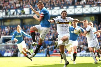 Lee McCulloch opens the scoring for Rangers during their 4-1 victory over Dumbarton at Ibrox