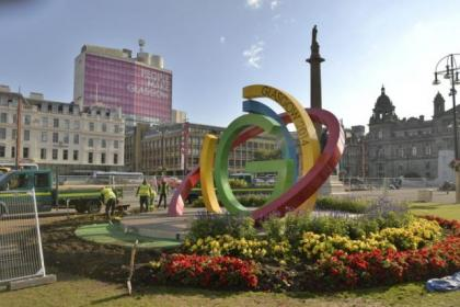 Work is getting under way to move the striking Big G installation from its George Square home after the Games
