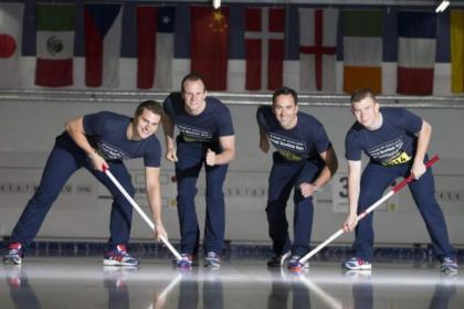 Team GB curling team in action