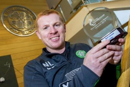 Neil Lennon with his Manager of the Month award for January