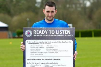 Lee Wallace promotes a Rangers fans' survey ahead of Saturday's home game with Stenhousemuir