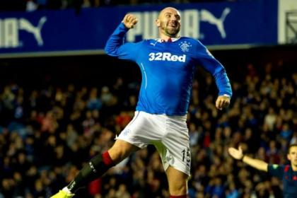 Kris Boyd celebrates after completing his hat-trick in 8-1 win over Clyde