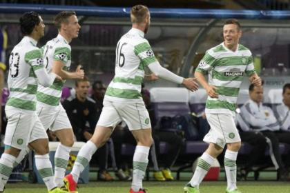Callum McGregor celebrates his goal with Beram Kayal, Stefan Johansen and Jo Inge Berget