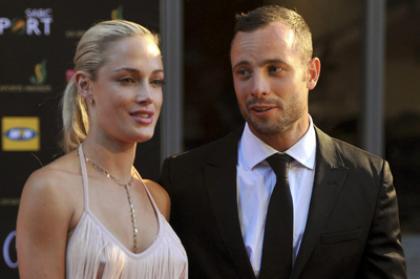 Oscar Pistorius with his girlfriend Reeva Steenkamp