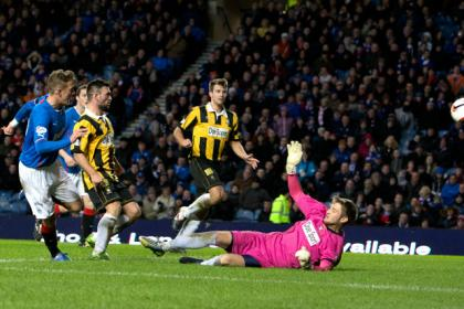 Rangers' Dean Shiels scores his second goal past East Fife goal keeper Greg Paterson
