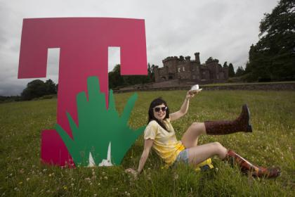 Music fan Phoebe Inglis-Holmes celebrates T in the Park's new home from 2015. Picture: Chris James